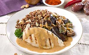 grilled-chicken-with-savory-almond-and-date-sauce