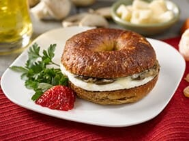 Bagel Sandwich with Egg, Caramelized Onion, Mushroom and Swiss