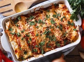 Chicken Enchiladas with Black Bean Mango Salsa