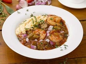 Shrimp Etouffee with Cheese Grits